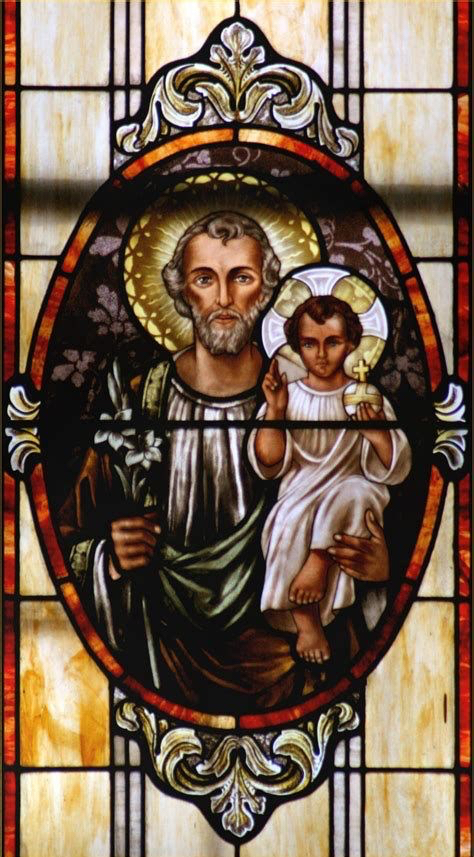 Stained glass image of St. Joseph with the Child Jesus