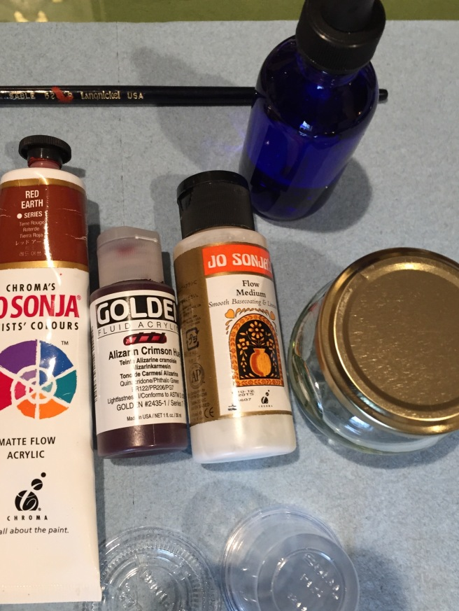 Basic paints, flow medium. and water supplies
